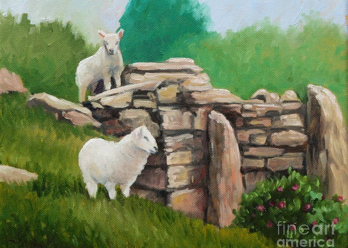 Sheep Greeting Card featuring the painting Sheep On A Rock Wall by Hilary England