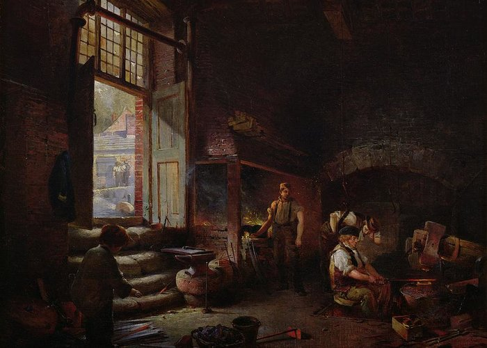 Tilt Hammer Greeting Card featuring the painting Sheffield Scythe Tilters by Godfrey Sykes