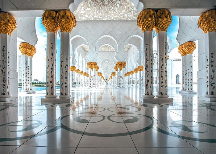 Uae Greeting Card featuring the photograph Sheikh Zayed Grand Mosque by Robert Aycock