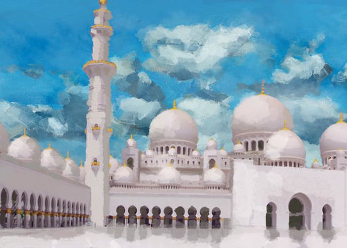 Islamic Greeting Card featuring the painting Sheikh Zayed Mosque by Catf
