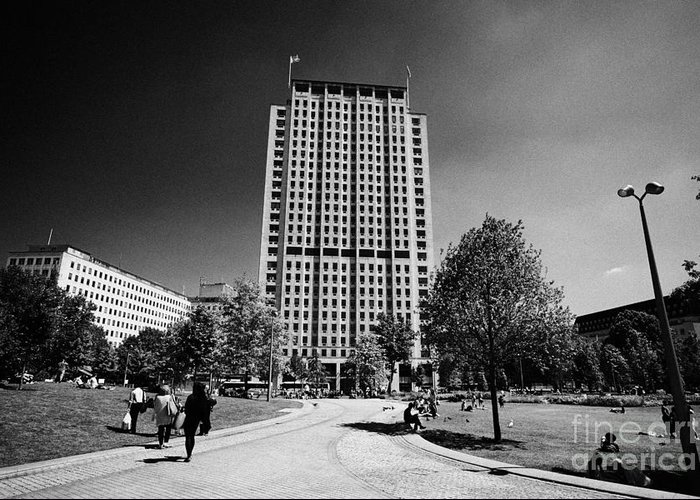 Shell Greeting Card featuring the photograph shell centre tower and jubilee gardens southbank London England UK by Joe Fox