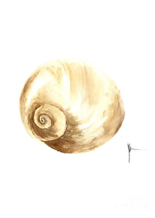 Shell Greeting Card featuring the painting Shell Painting Watercolor Art Print by Joanna Szmerdt