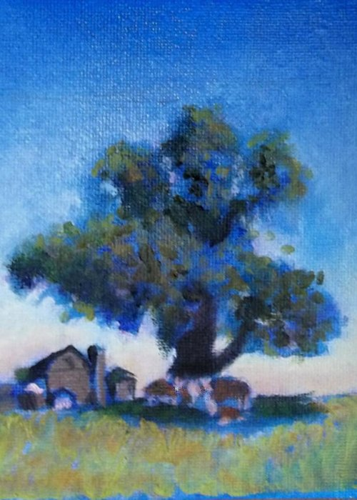 Landscape Painting Farm Greeting Card featuring the painting Shelter In My Shadiw by David Zimmerman