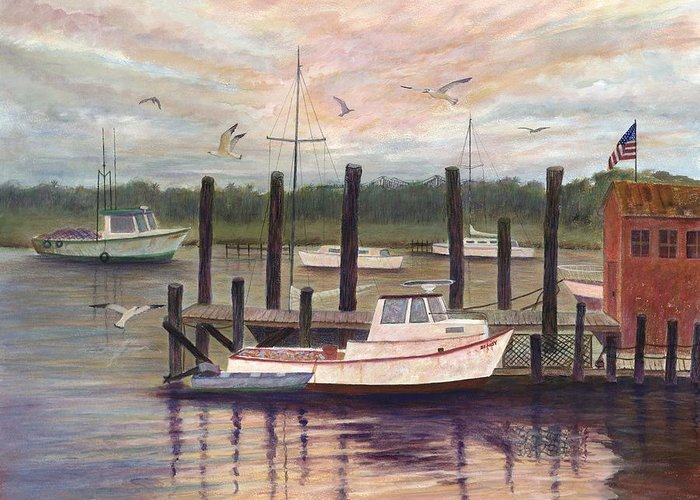 Charleston; Boats; Fishing Dock; Water Greeting Card featuring the painting Shem Creek by Ben Kiger