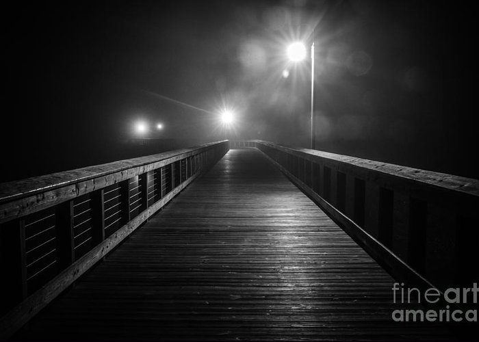 Charleston Greeting Card featuring the photograph Shem Creek Boardwalk In The Fog by Sam Hymas