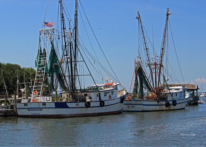 Shrimper Greeting Card featuring the photograph Shem Creek Shrimpers by Suzanne Gaff