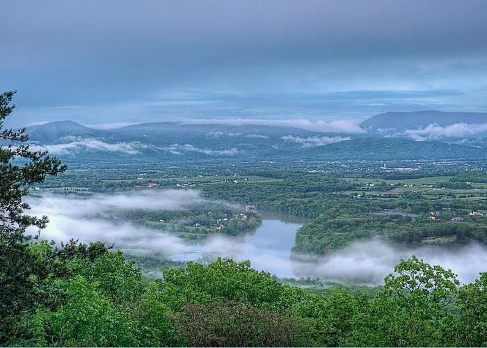 Shenandoah Valley View Greeting Card featuring the photograph Shenandoah Evening Fog by Lara Ellis