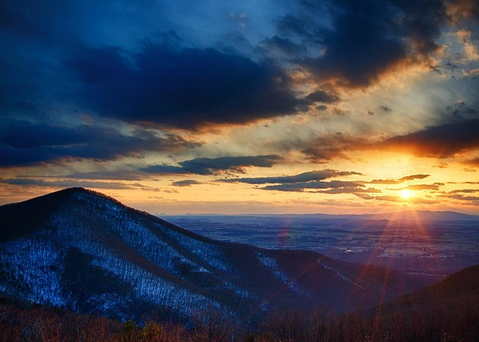 Park Greeting Card featuring the photograph Shenandoah Sunset by Joan Carroll