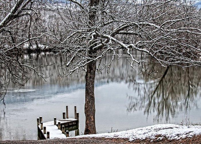 Painterly Shenandoah River Greeting Card featuring the photograph Shenandoah Winter Serenity by Lara Ellis