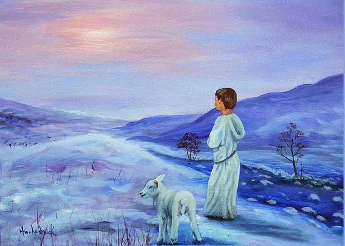 Shepherd Boy Greeting Card featuring the painting Shepherd boy by Anne Kushnick