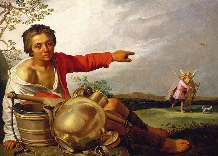 Pointing Greeting Card featuring the painting Shepherd Boy Pointing At Tobias And The Angel by Abraham Bloemaert