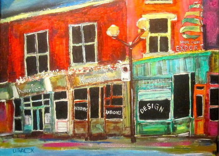 Molson Export Beer Sign Greeting Card featuring the painting Sherbrooke Street West by Michael Litvack