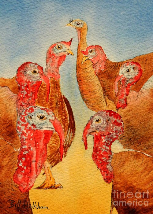 Wild Turkeys Greeting Card featuring the painting She's All That by Bill Holkham