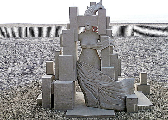 Sand Castles Greeting Card featuring the photograph She's Come Undone by Eunice Miller