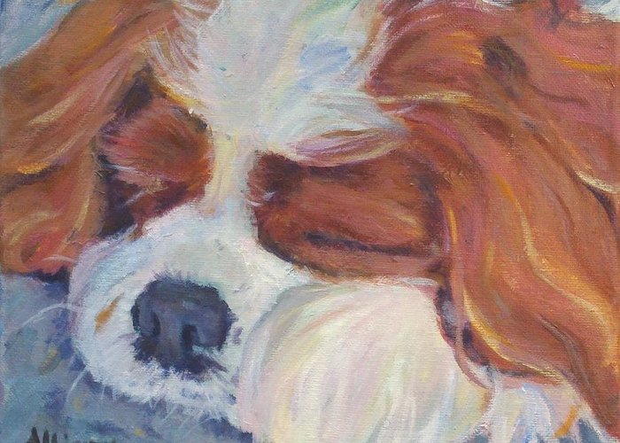 Pets Greeting Card featuring the painting Shh..Charlie's Sleeping by Stephanie Allison