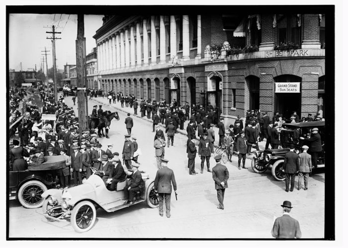 Shibe Park 1914 Greeting Card featuring the photograph Shibe Park 1914 by Bill Cannon
