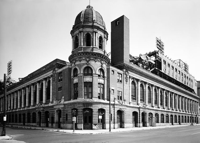 Shibe Park In Black And White Greeting Card featuring the photograph Shibe Park In Black And White by Bill Cannon