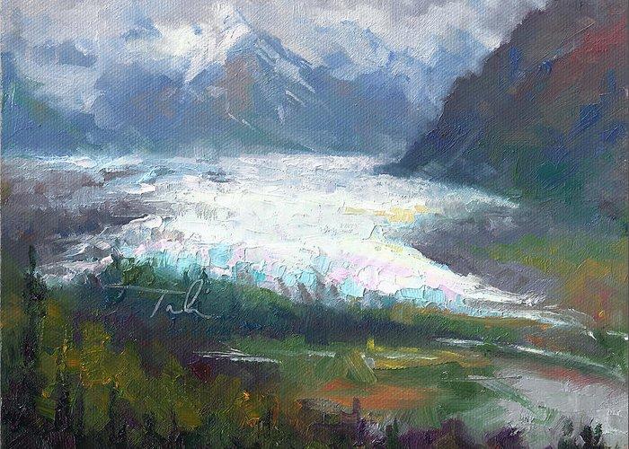 Alaska Greeting Card featuring the painting Shifting Light - Matanuska Glacier by Talya Johnson
