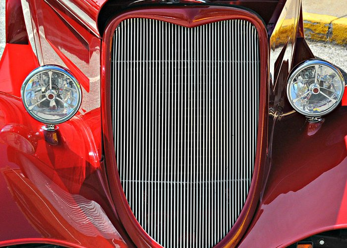 Classic Car Greeting Card featuring the photograph Shiny Red by Marty Koch