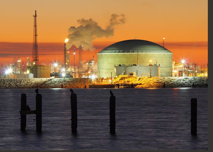 Texas City Greeting Card featuring the photograph Shiny Refinery #3 2am-27808 by Andrew McInnes