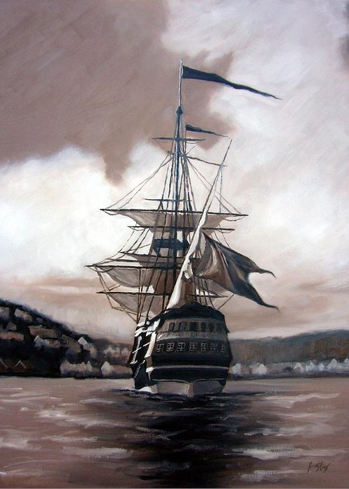 Pirate Ship Greeting Card featuring the painting Ship In Sepia by Janet King