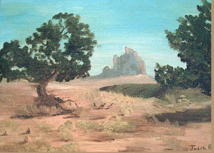 Mountain Greeting Card featuring the painting Ship Rock New Mexico by Judi Pence
