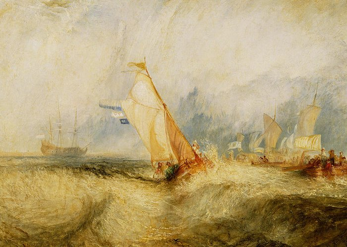 Boat Greeting Card featuring the painting Ships A Sea Getting A Good Wetting by Joseph Mallord