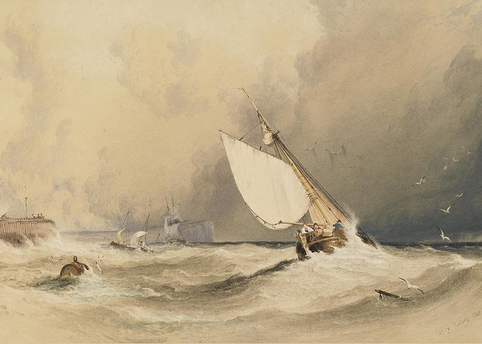 Ships Greeting Card featuring the painting Ships At Sea Off Folkestone Harbour Storm Approaching by Anthony Vandyke Copley Fielding