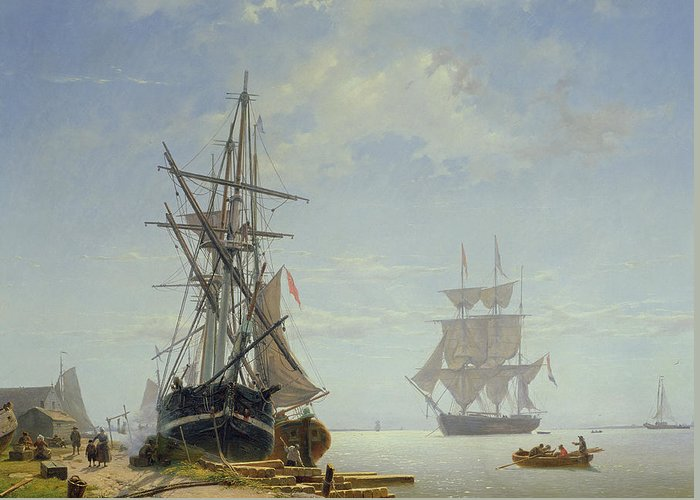Boat Greeting Card featuring the painting Ships In A Dutch Estuary by WA Van Deventer