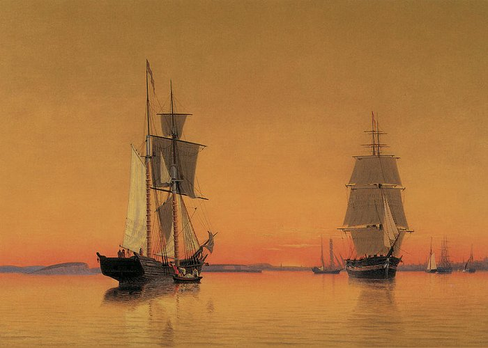 William Bradford Greeting Card featuring the painting Ships In The Boston Harbor At Twilight by William Bradford
