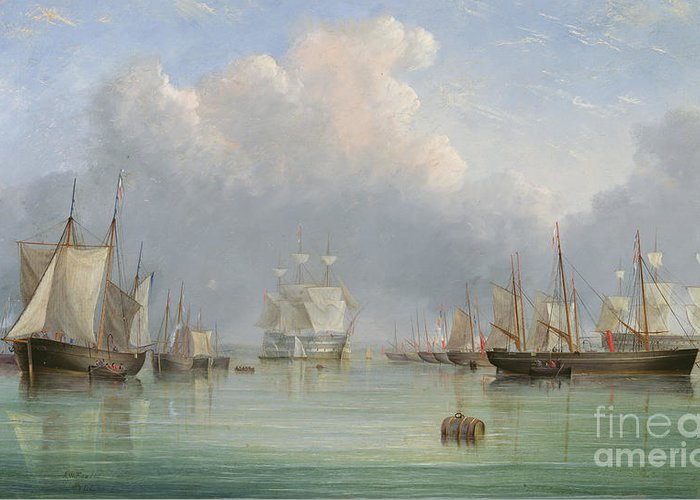 Floating; Barrel; Cask; Fleet; Boats; Vessels; Isle Of Wight; Coast; Coastal; English; Sails; Reflection; Anchored Greeting Card featuring the painting Ships Off Ryde by Arthur Wellington Fowles