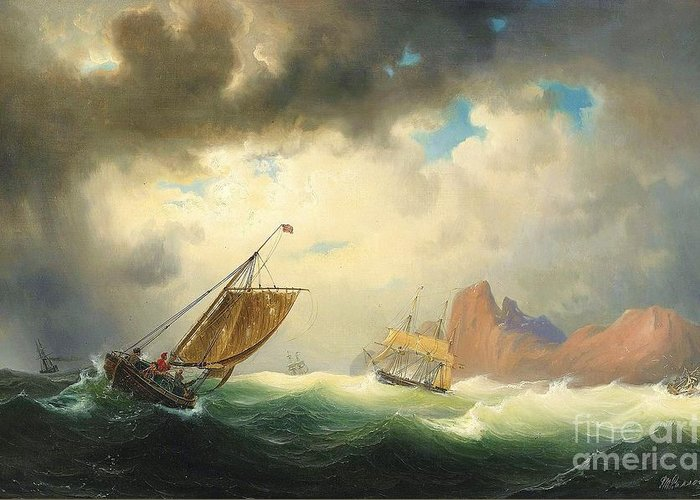 Pd Greeting Card featuring the painting Ships On Stormy Ocean by Pg Reproductions