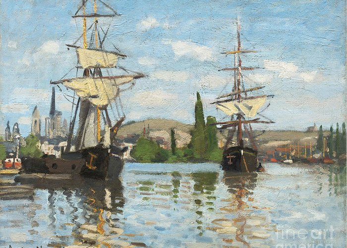Ship; Tall; Sails; River; View; Scene; Shipping; Sailing; Mast; Boat Greeting Card featuring the painting Ships Riding On The Seine At Rouen by Claude Monet