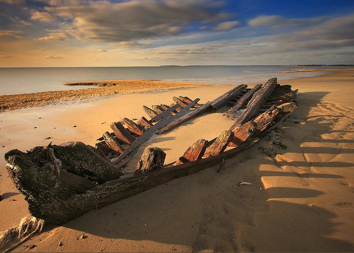 Shipwreck Greeting Card featuring the photograph Shipwreck On Cape Cod Beach by Dapixara Art