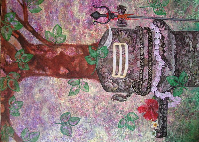 Shiv Greeting Card featuring the painting Shiv Ling by Sunanda Kalyani