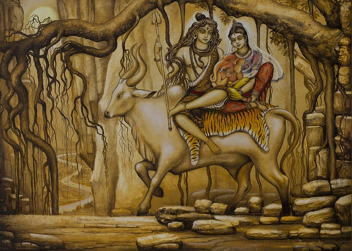 Shiva Greeting Card featuring the painting Shiva Parvati Ganesha by Vrindavan Das