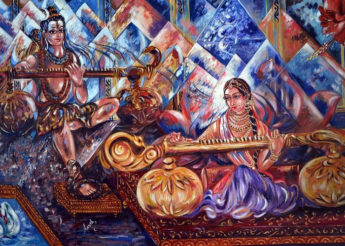Shiv Greeting Card featuring the painting Shiva Parvati by Harsh Malik