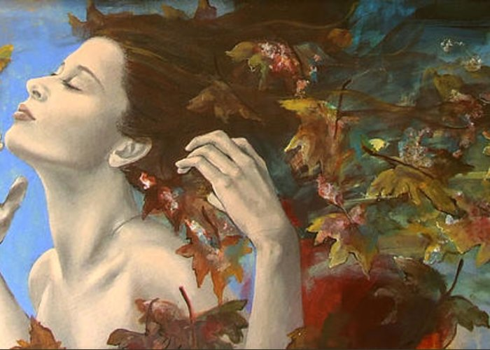 Fantasy Greeting Card featuring the painting Shivers by Dorina Costras