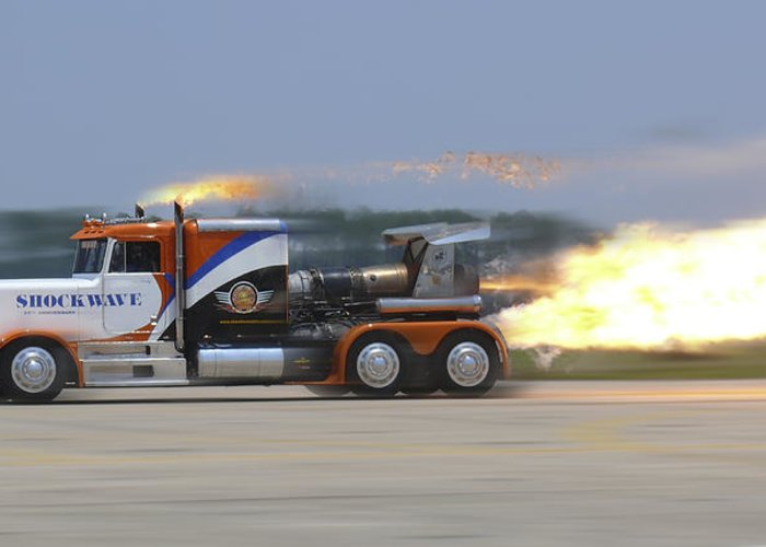 Jet Powered Truck Greeting Card featuring the photograph Shockwave by Mike McGlothlen