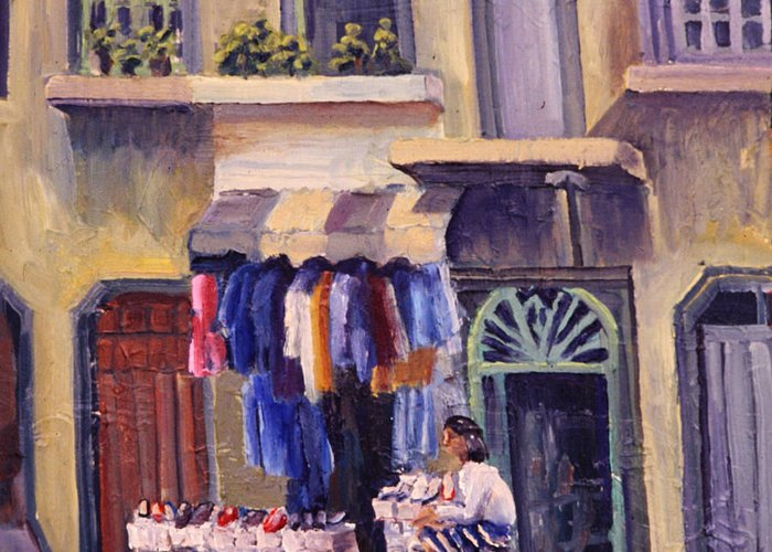Shoe Greeting Card featuring the painting Shoe Seller by Richard Marshall