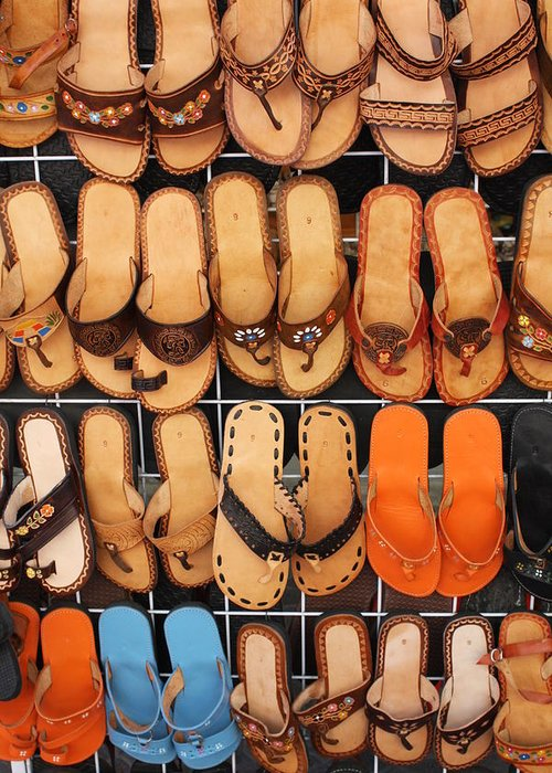 Mexico Greeting Card featuring the photograph Shoes Shoes Everywhere Playa Del Carmen Mexico by Lee Vanderwalker