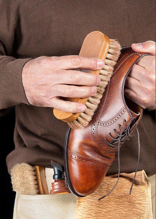 Shoeshine Greeting Card featuring the photograph Shoeshiner by Joe Belanger
