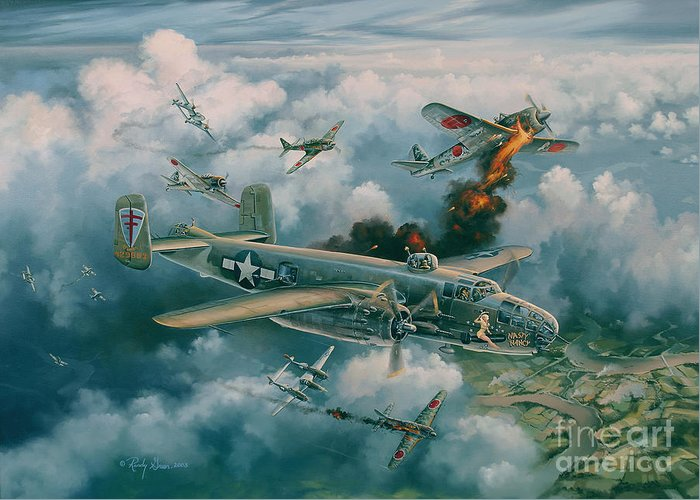 Aviation Art Greeting Card featuring the painting Shoot-out Over Saigon by Randy Green