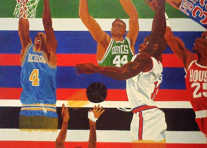 Basketball Greeting Card featuring the painting Shoots N Hoops by Leslye Miller