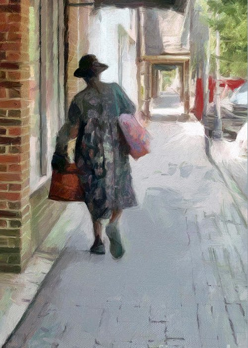 Suzannem73 Greeting Card featuring the digital art Shopping Day On Dargan Street by Suzanne Muldrow