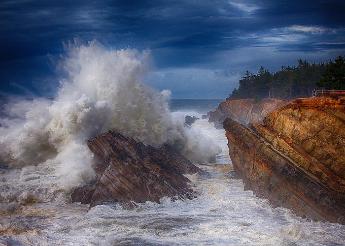 Storm Greeting Card featuring the photograph Shore Acre Storm by Darren White
