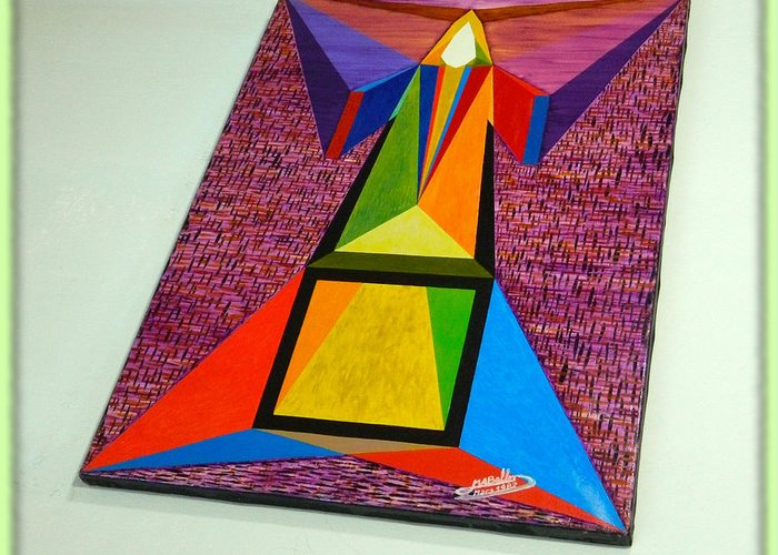Spirituality Greeting Card featuring the painting Shot Shift - Liberte 2 by Michael Bellon