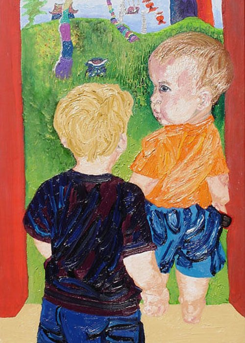 Children Greeting Card featuring the painting Should We Go In by Lisa Kramer
