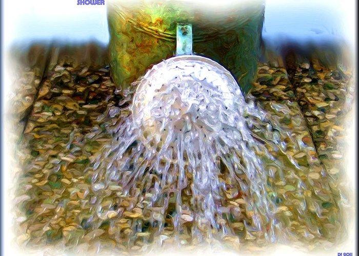 Shower Greeting Card featuring the digital art Shower by Daniel Janda