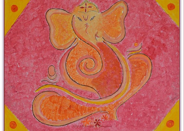 Shree Ganesh Greeting Card featuring the painting Shree Ganesh by Sonali Gangane